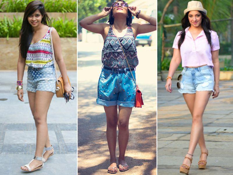 Indian girls wearing shorts.