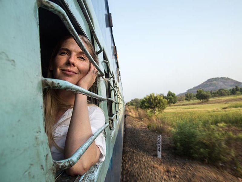 Women looking through the train window.