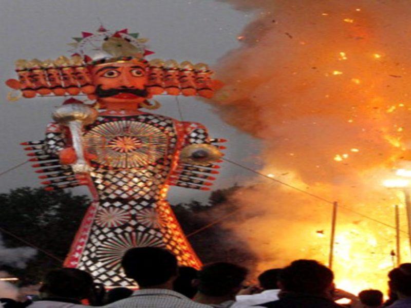 Effigy burning during Dussehra