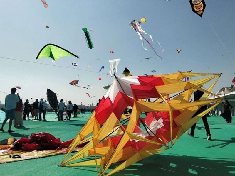 Kites at the festival of Makar Sakranti.