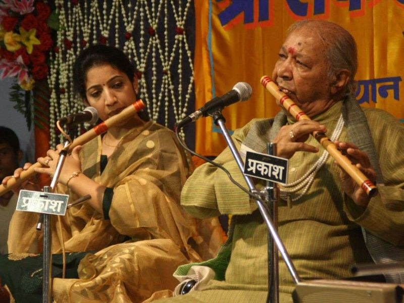 The famous Hari Prasad performing at the Sankat Mochan Music Festival.